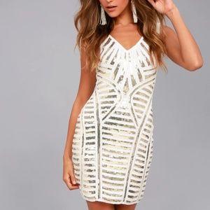 Casino Night White and Gold Sequin Bodycon Dress